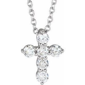 14K Rose 14.6x10.5 mm 1/4 CTW Diamond Cross Pendant