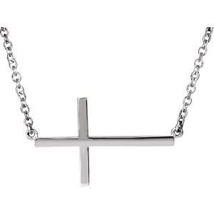"14K White 28x16.2 mm Sideways Cross 16-18"" Necklace"