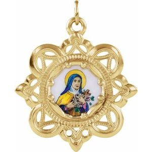 10K Yellow 26x26 mm Enameled St. Theresa Medal