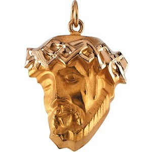 14K Yellow 25x19.5 mm Face of Jesus Pendant