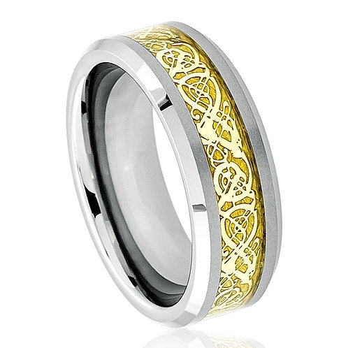 Shiny Beveled Edge with Golden Celtic Dragon Cut-out Inlay - 8mm