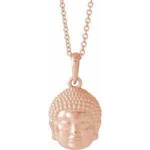 "14K Rose 14.7x10.5 mm Meditation Buddha 16-18"" Necklace"