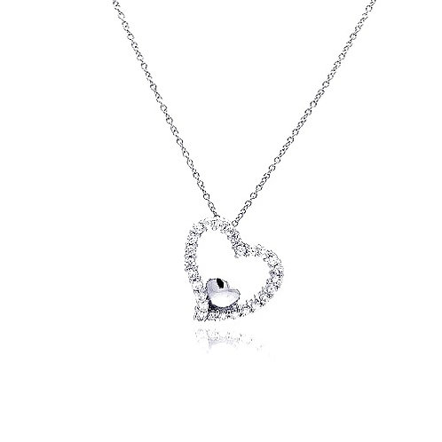925 Clear CZ Rhodium Plated Heart Pendant Necklace
