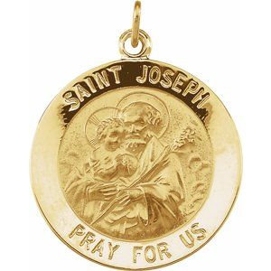 14K Yellow 22 mm Round St. Joseph Medal