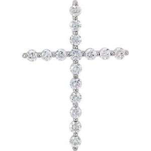 14K White 1 CTW Diamond Cross Pendant