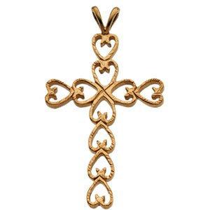 14K Yellow 30x21 mm Heart Design Cross Pendant