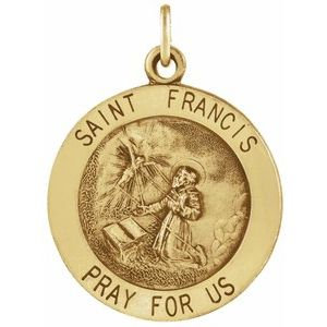 14K Yellow 25 mm Round St. Francis of Assisi Medal