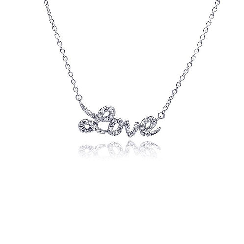 """Sterling Silver Necklace """"Love """" Cubic Zirconia"""