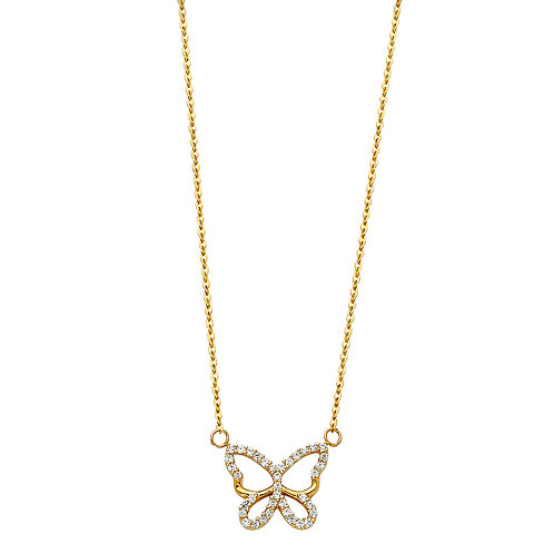 14K Gold Butterfly Necklace with CZ Stones