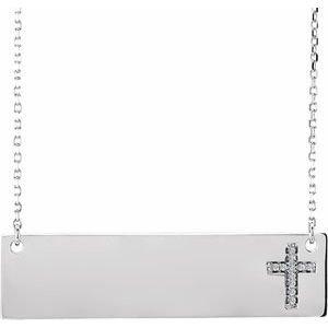 "14K White .03 CTW Diamond Cross 16-18"" Necklace"