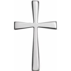 14K White 18x11 mm Cross Pendant