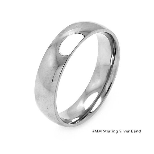 Sterling Silver Plain Round 4mm Wedding Band Ring