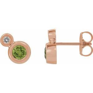 14K Rose Peridot & .06 CTW Diamond Earrings