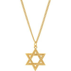 24K Yellow Gold-Plated Sterling Silver 28.8x22.62 mm Star of David Necklace