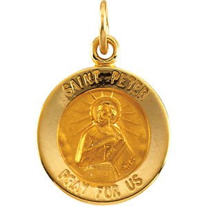 14K Yellow 12 mm Round St. Peter Medal