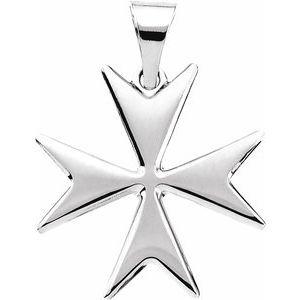 14K White Maltese Cross Pendant