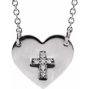 "14K White .02 CTW Diamond Heart & Cross 16-18"" Necklace"