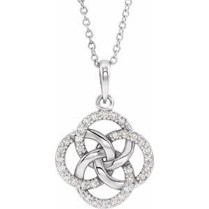 14K White 1/8 CTW Diamond Five-Fold Celtic Necklace