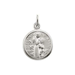 14K White 10.15x12 mm St. Francis of Assisi Medal