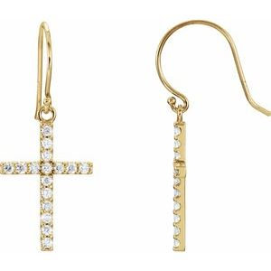 14K Yellow 1/2 CTW Diamond Cross Earrings