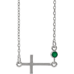 """14K White Chatham® Created Emerald Sideways Accented Cross 16-18"""" Necklace"""