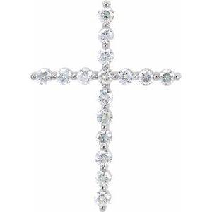 14K White 5/8 CTW Diamond Cross Pendant