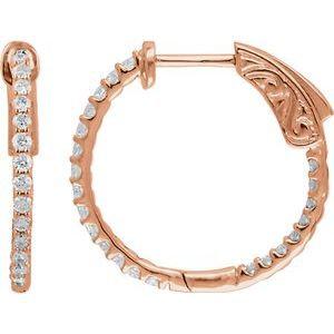 14K Rose 1/2 CTW Diamond Inside-Outside 19 mm Hoop Earrings