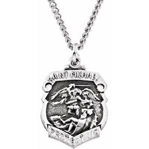 """Sterling Silver 16.5x14 mm St. Michael Medal 18"""" Necklace"""