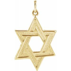 14K Yellow Star of David Pendant
