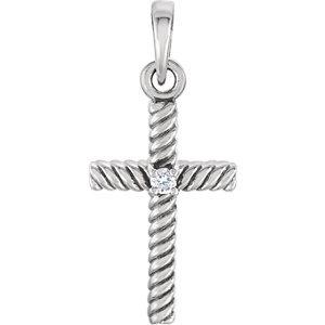 14K White .015 CTW Diamond 18.9x8.65 mm Rope Design Cross Pendant