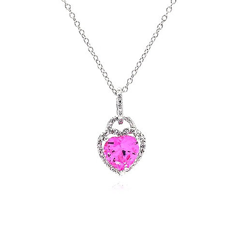 925 Clear Pink CZ Rhodium Plated Heart Pendant Necklace