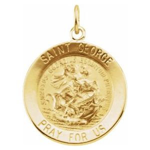 14K Yellow 22 mm Round St. George Medal