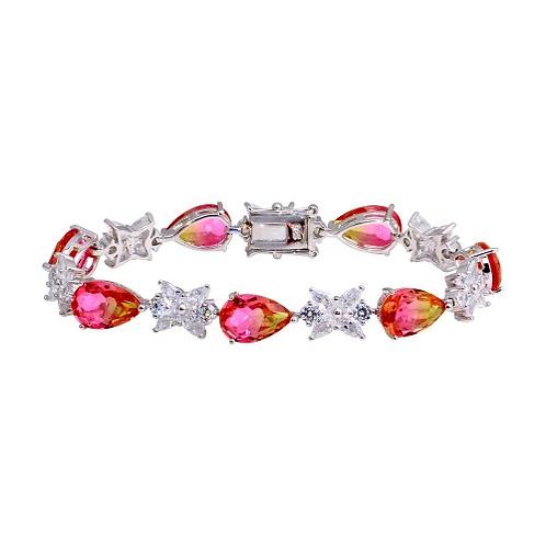 925 Rhodium Plated Orange Pink Teardrop Tennis Bracelet