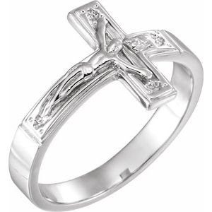Sterling Silver 15 mm Crucifix Chastity Ring Size 12