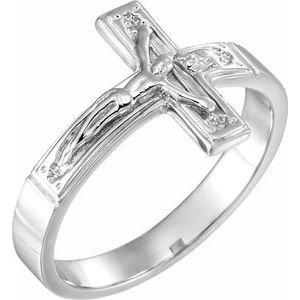14K White 15 mm Crucifix Chastity Ring Size 10