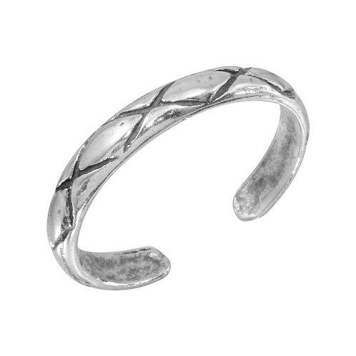 925 Net Pattern Adjustable Toe Ring