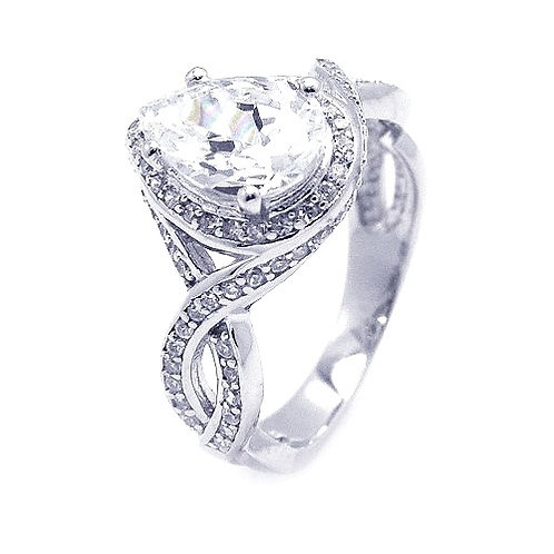 925 Rhodium Plated Pave Pear Center CZ Ring