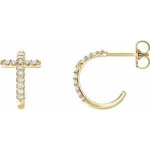 14K Yellow 1/4 CTW Diamond Cross Hoop Earrings