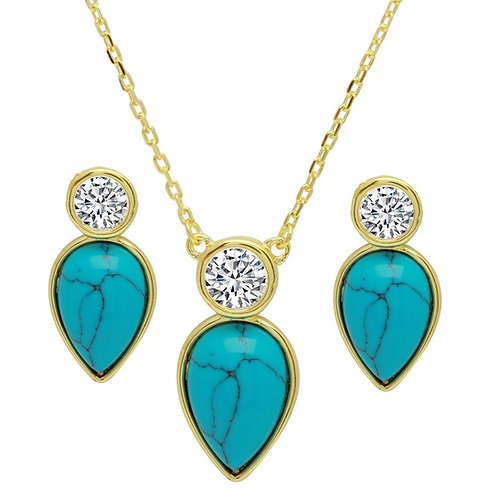 Pear Shaped Turquoise Cubic Zirconia Sterling Silver Set of Pendant and Earrings