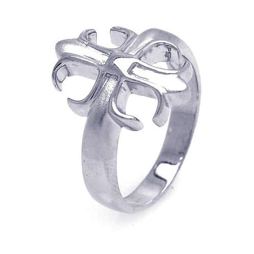 925 Sterling Silver Rhodium Plated Crest Ring