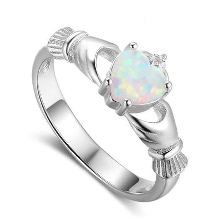 Claddagh Ring with whiteOpal Heart