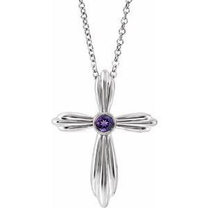 "14K White Amethyst Cross 16-18"" Necklace"