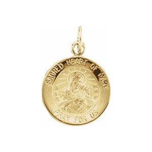14K Yellow 12 mm Sacred Heart of Mary Medal