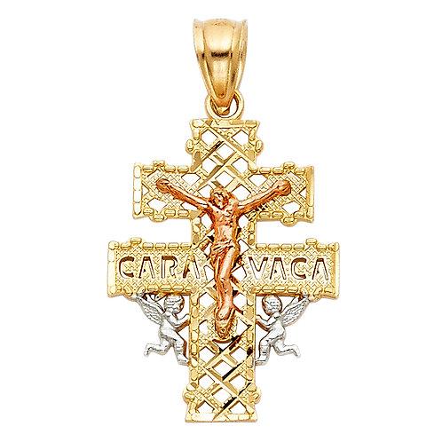 14K 3C CARAVACA CROSS PENDANT
