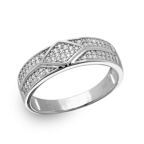 White Cubic Zirconia Accented Sterling Silver Mens Band Ring