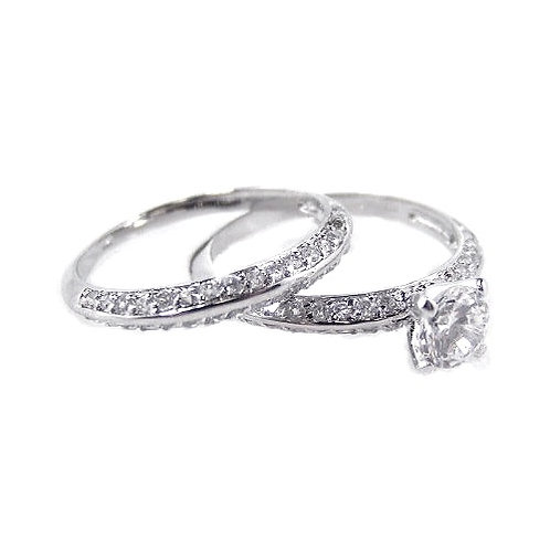 925 Rhodium Plated Clear CZ Bridal Ring Set