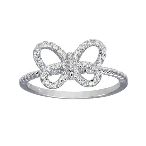 Rhodium Plated Open Butterfly Ring