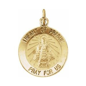 14K Yellow 15 mm Round Infant of Prague Medal
