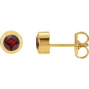 14K Yellow 4 mm Round Genuine Mozambique Garnet Birthstone Earrings