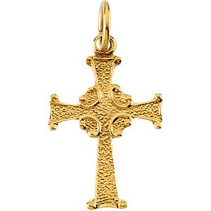 14K Yellow 14x10 mm Child's Cross Pendant